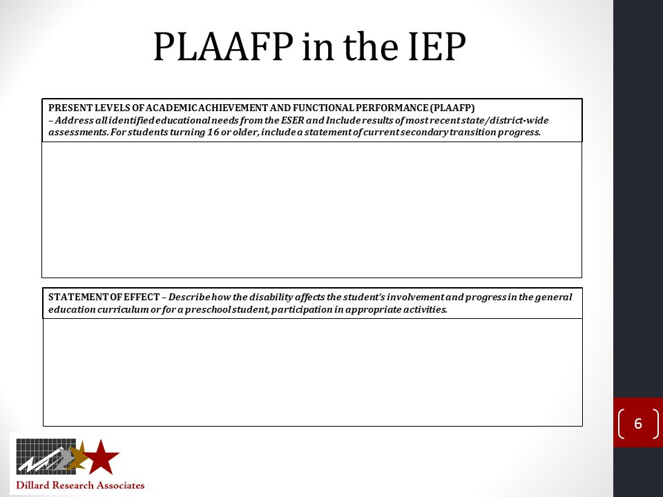 PLAAFP in the IEP 6 STATEMENT OF EFFECT – Describe how the disability affects the student's involvement and progress in the general education curriculum or for a preschool student, participation in appropriate activities.