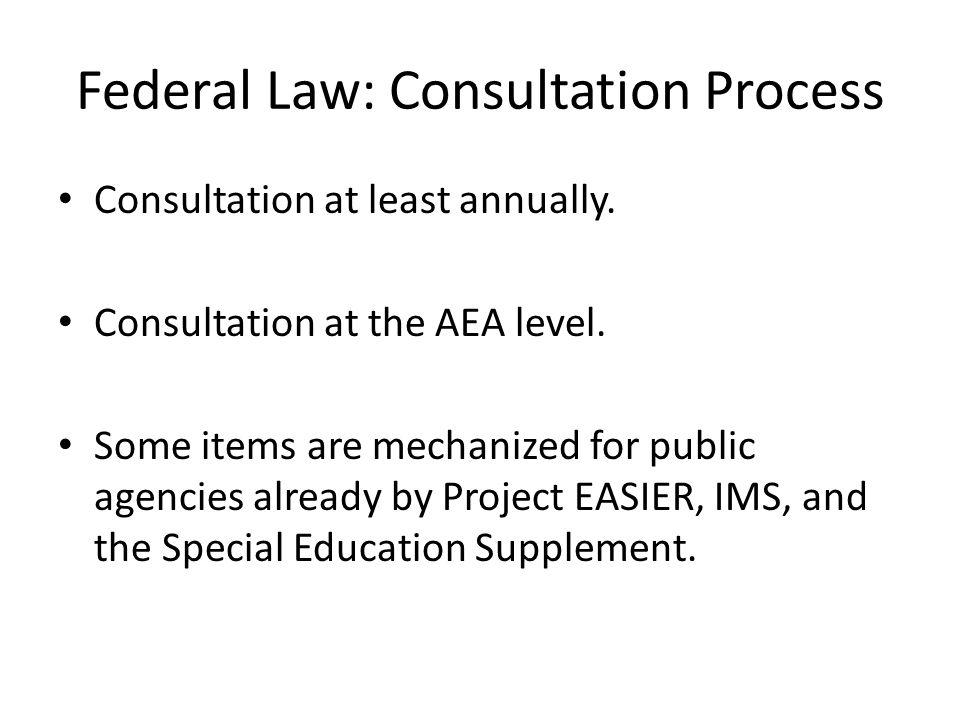 Consultation Process Participants One consultation process per AEA Public agency representatives Nonpublic school representatives (Every private school.