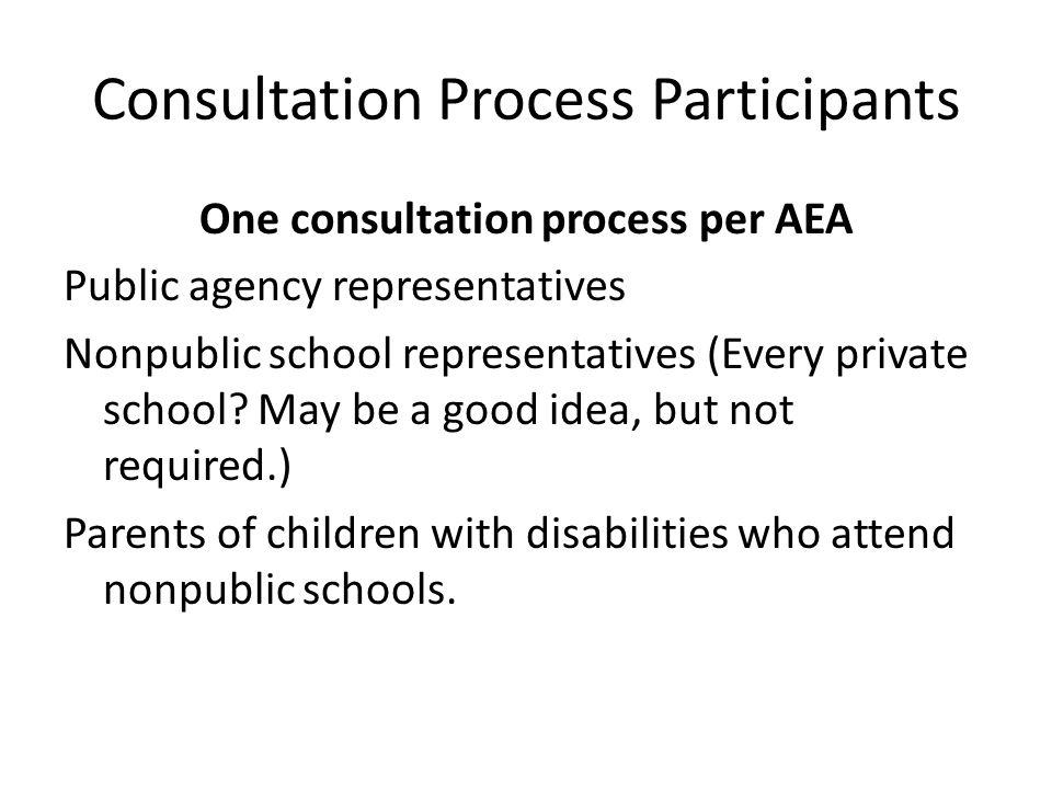 Consultation Process Participants One consultation process per AEA Public agency representatives Nonpublic school representatives (Every private schoo