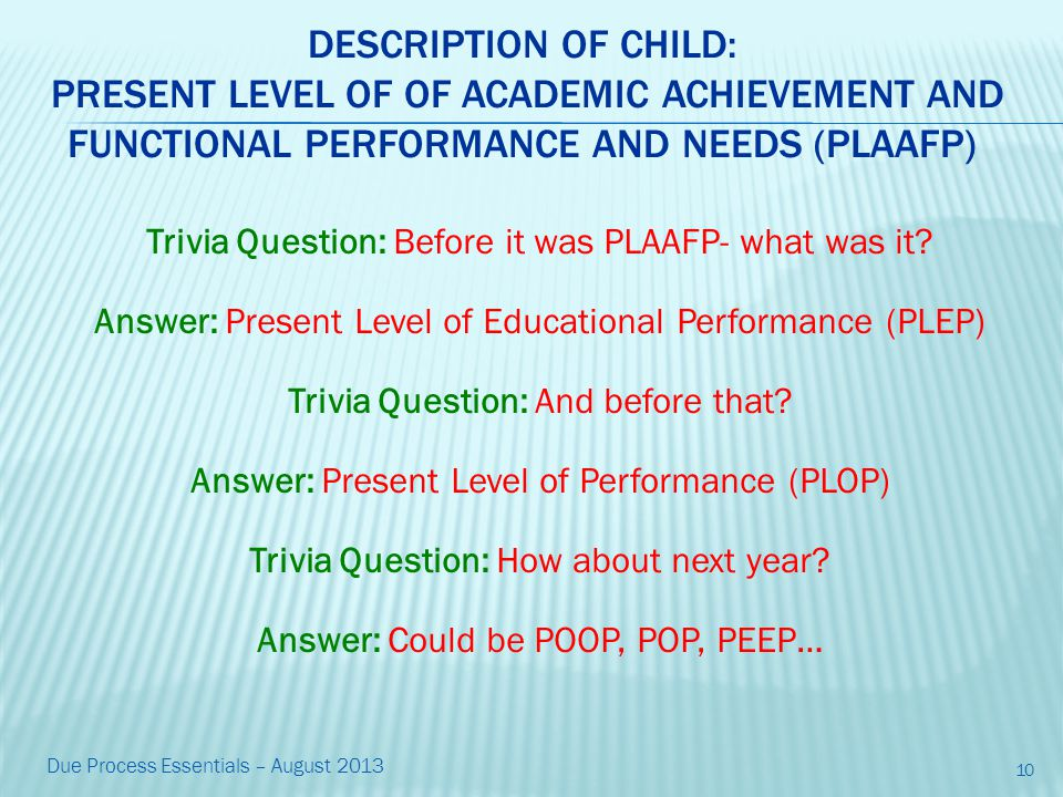 DESCRIPTION OF CHILD: PRESENT LEVEL OF OF ACADEMIC ACHIEVEMENT AND FUNCTIONAL PERFORMANCE AND NEEDS (PLAAFP) Trivia Question: Before it was PLAAFP- what was it.