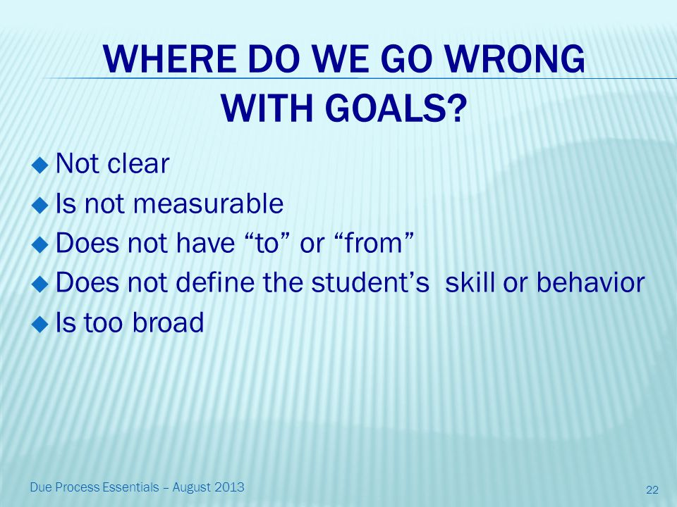 WHERE DO WE GO WRONG WITH GOALS.
