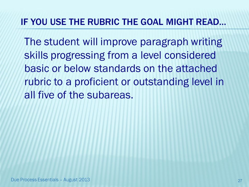 The student will improve paragraph writing skills progressing from a level considered basic or below standards on the attached rubric to a proficient or outstanding level in all five of the subareas.