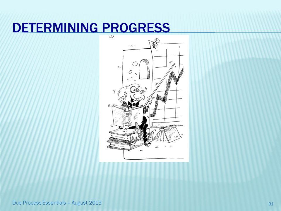 DETERMINING PROGRESS 31 Due Process Essentials – August 2013