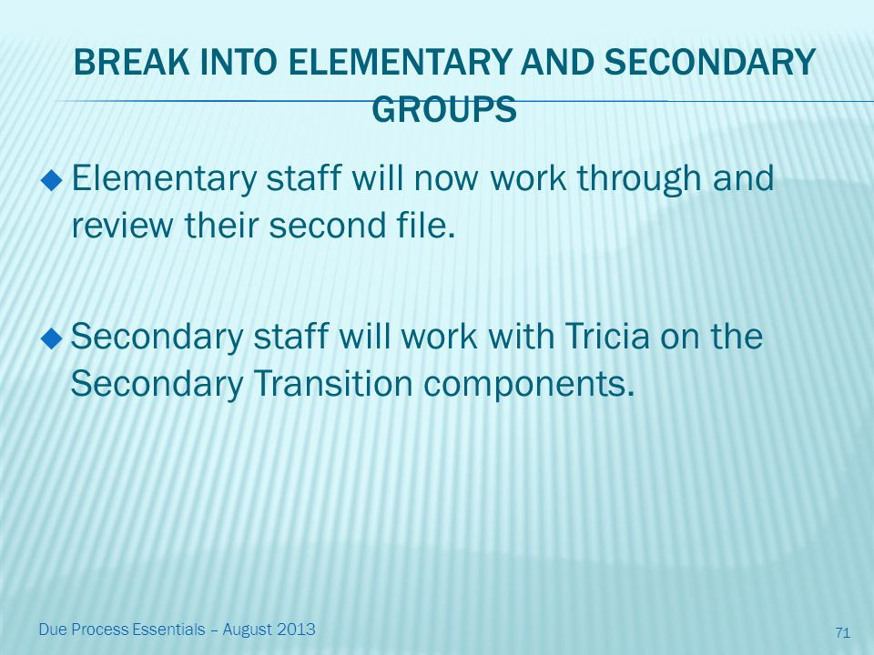 BREAK INTO ELEMENTARY AND SECONDARY GROUPS  Elementary staff will now work through and review their second file.