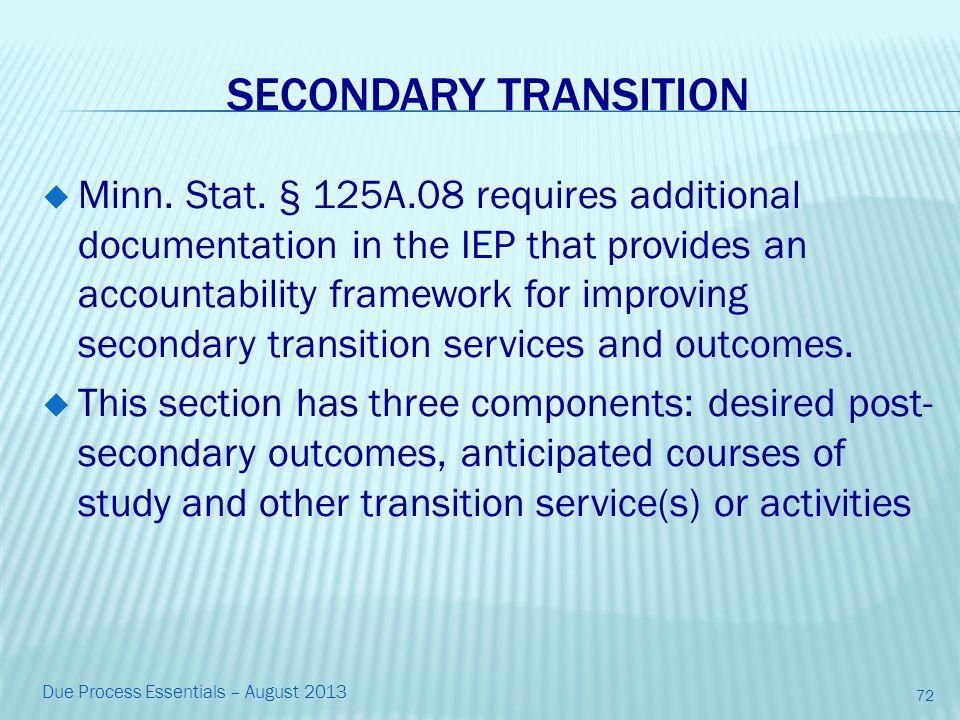 SECONDARY TRANSITION  Minn. Stat.