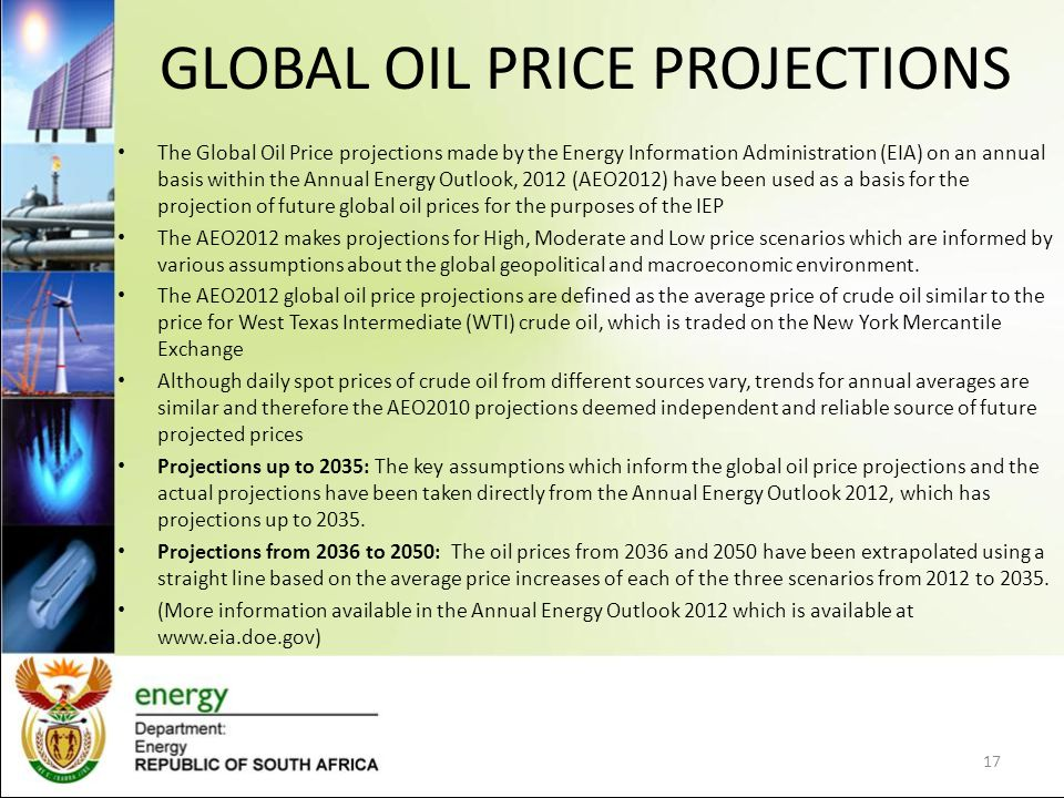 GLOBAL OIL PRICE PROJECTIONS The Global Oil Price projections made by the Energy Information Administration (EIA) on an annual basis within the Annual Energy Outlook, 2012 (AEO2012) have been used as a basis for the projection of future global oil prices for the purposes of the IEP The AEO2012 makes projections for High, Moderate and Low price scenarios which are informed by various assumptions about the global geopolitical and macroeconomic environment.