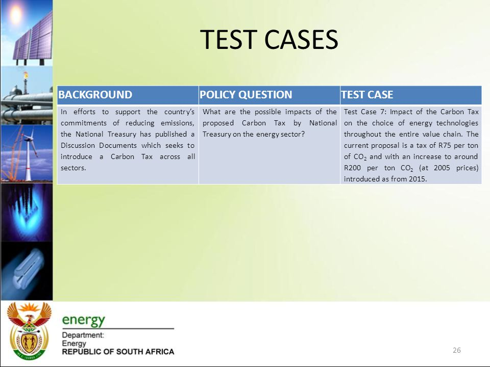 TEST CASES BACKGROUNDPOLICY QUESTIONTEST CASE In efforts to support the country's commitments of reducing emissions, the National Treasury has published a Discussion Documents which seeks to introduce a Carbon Tax across all sectors.