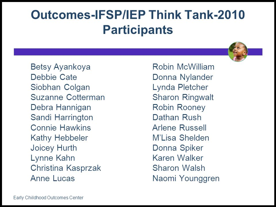 Outcomes-IFSP/IEP Think Tank-2010 Participants Betsy Ayankoya Debbie Cate Siobhan Colgan Suzanne Cotterman Debra Hannigan Sandi Harrington Connie Hawkins Kathy Hebbeler Joicey Hurth Lynne Kahn Christina Kasprzak Anne Lucas Robin McWilliam Donna Nylander Lynda Pletcher Sharon Ringwalt Robin Rooney Dathan Rush Arlene Russell M'Lisa Shelden Donna Spiker Karen Walker Sharon Walsh Naomi Younggren Early Childhood Outcomes Center