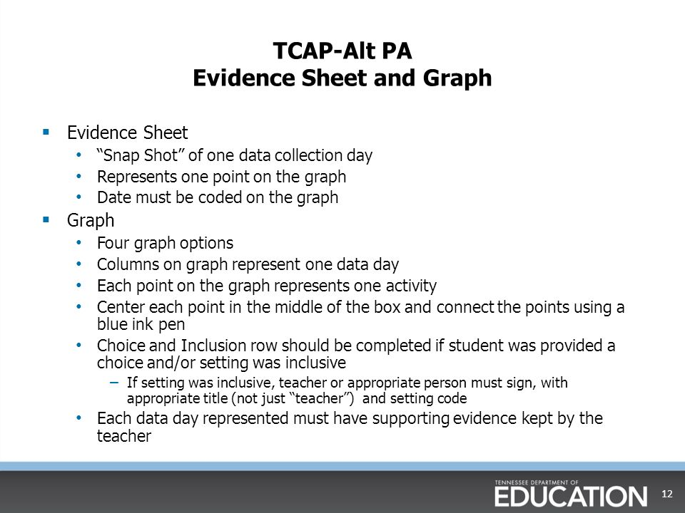 """TCAP-Alt PA Evidence Sheet and Graph  Evidence Sheet """"Snap Shot"""" of one data collection day Represents one point on the graph Date must be coded on t"""