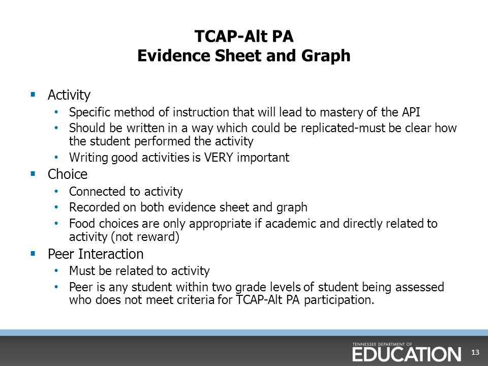 TCAP-Alt PA Evidence Sheet and Graph  Activity Specific method of instruction that will lead to mastery of the API Should be written in a way which c