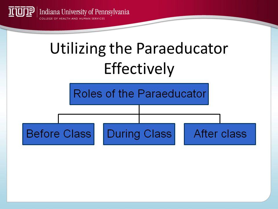 Utilizing the Paraeducator Effectively