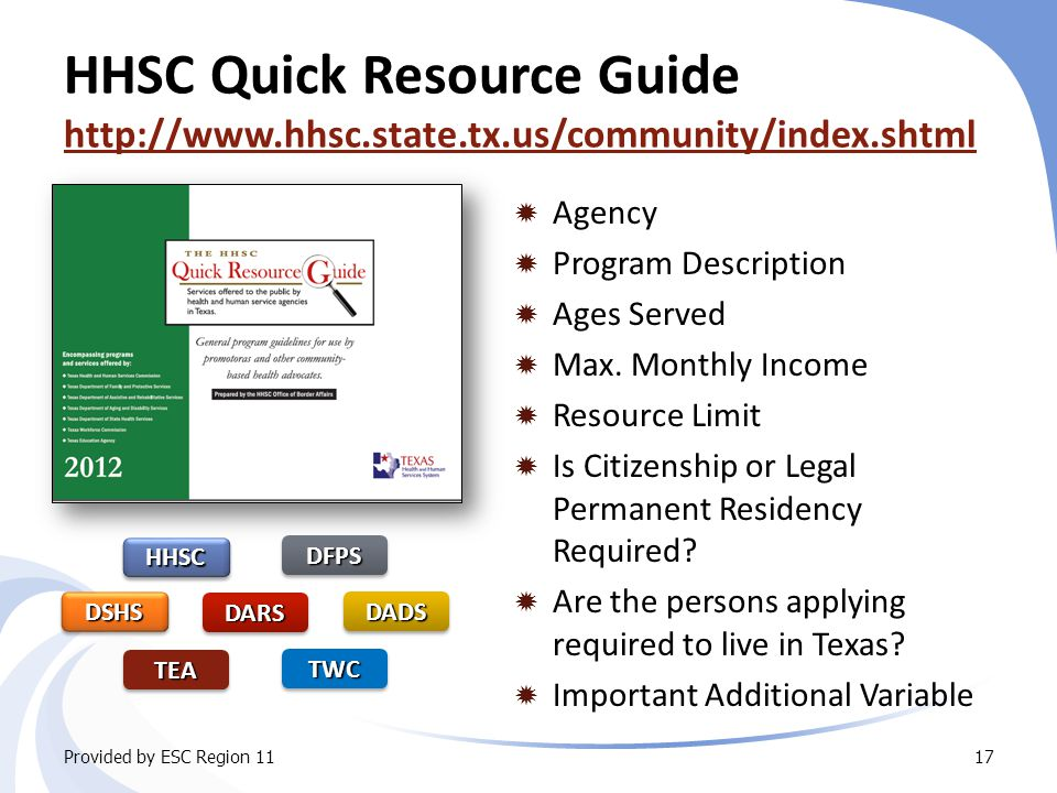HHSC Quick Resource Guide http://www.hhsc.state.tx.us/community/index.shtml http://www.hhsc.state.tx.us/community/index.shtml  Agency  Program Description  Ages Served  Max.