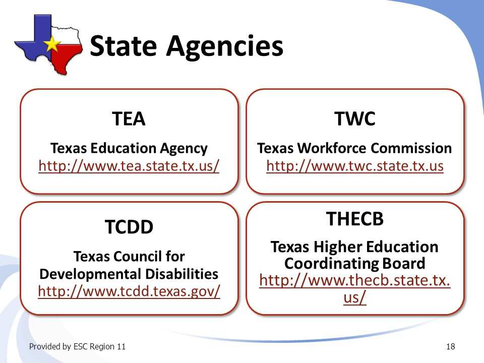 State Agencies TCDD Texas Council for Developmental Disabilities http://www.tcdd.texas.gov/ http://www.tcdd.texas.gov/ TCDD Texas Council for Developmental Disabilities http://www.tcdd.texas.gov/ http://www.tcdd.texas.gov/ TEA Texas Education Agency http://www.tea.state.tx.us/ http://www.tea.state.tx.us/ TEA Texas Education Agency http://www.tea.state.tx.us/ http://www.tea.state.tx.us/ TWC Texas Workforce Commission http://www.twc.state.tx.us http://www.twc.state.tx.us TWC Texas Workforce Commission http://www.twc.state.tx.us http://www.twc.state.tx.us Provided by ESC Region 1118 THECB Texas Higher Education Coordinating Board http://www.thecb.state.tx.