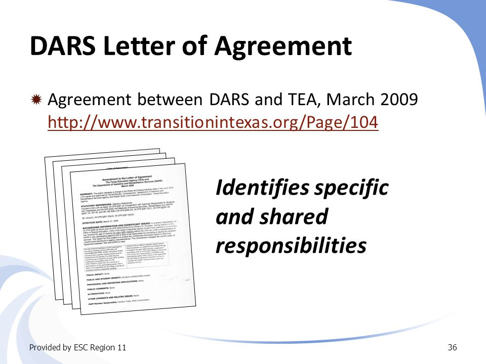 DARS Letter of Agreement  Agreement between DARS and TEA, March 2009 http://www.transitionintexas.org/Page/104 http://www.transitionintexas.org/Page/104 Provided by ESC Region 1136 Identifies specific and shared responsibilities