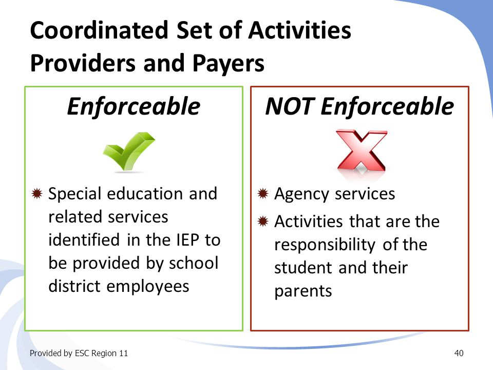 Coordinated Set of Activities Providers and Payers Enforceable  Special education and related services identified in the IEP to be provided by school district employees NOT Enforceable  Agency services  Activities that are the responsibility of the student and their parents Provided by ESC Region 1140