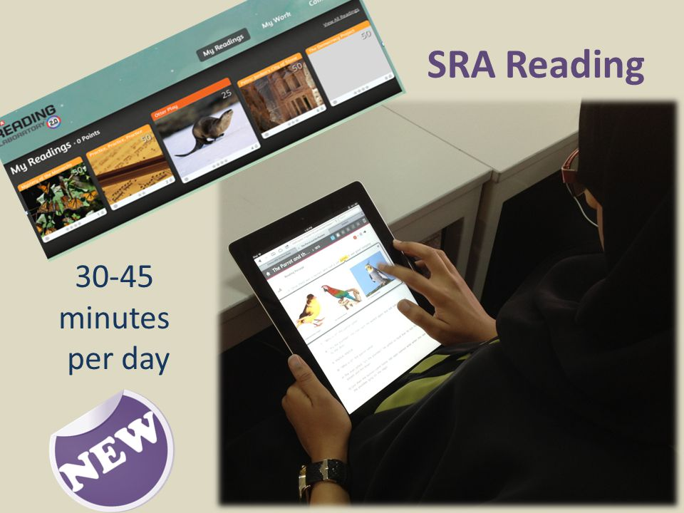 30-45 minutes per day SRA Reading