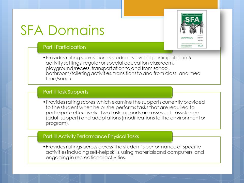 SFA Domains Provides rating scores across student's level of participation in 6 activity settings: regular or special education classroom, playground/recess, transportation to and from school, bathroom/toileting activities, transitions to and from class, and meal time/snack.