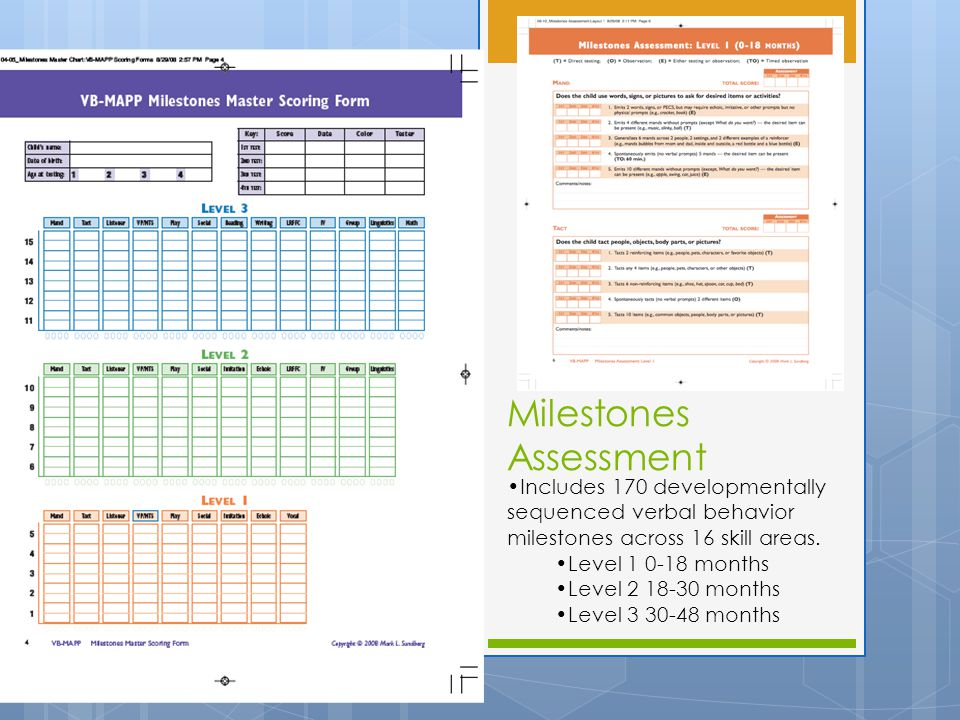 Milestones Assessment Includes 170 developmentally sequenced verbal behavior milestones across 16 skill areas.