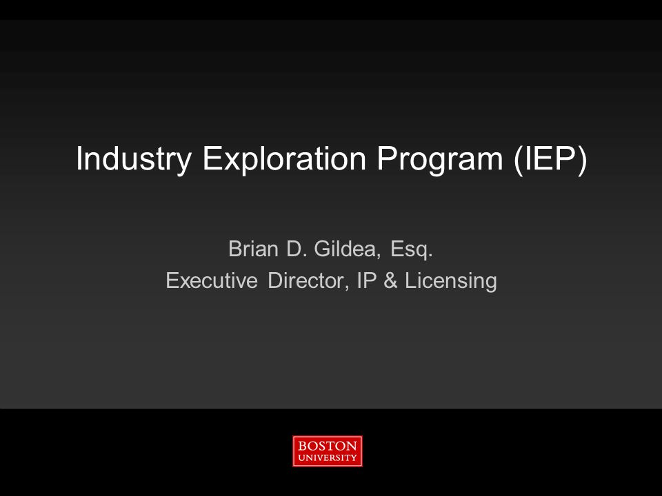 Industry Exploration Program (IEP) Brian D. Gildea, Esq. Executive Director, IP & Licensing