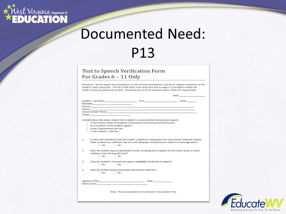 Documented Need: P13