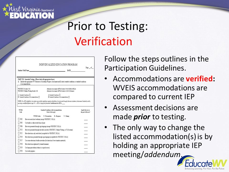 Prior to Testing: Verification Follow the steps outlines in the Participation Guidelines. Accommodations are verified: WVEIS accommodations are compar