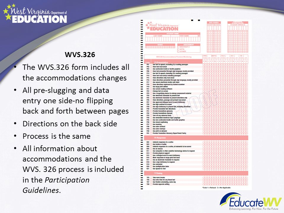 WVS.326 The WVS.326 form includes all the accommodations changes All pre-slugging and data entry one side-no flipping back and forth between pages Directions on the back side Process is the same All information about accommodations and the WVS.