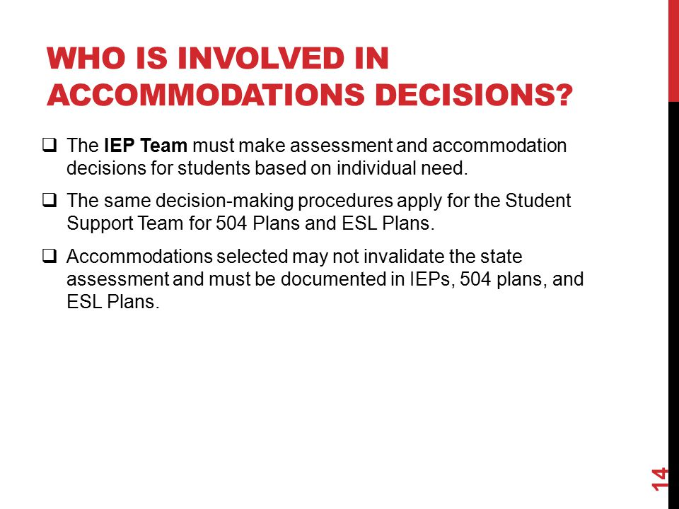 WHO IS INVOLVED IN ACCOMMODATIONS DECISIONS.