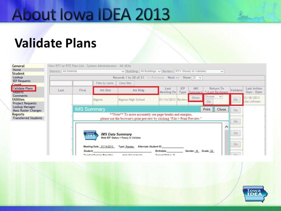 Validate Plans