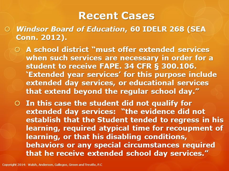 Recent Cases  Windsor Board of Education, 60 IDELR 268 (SEA Conn.