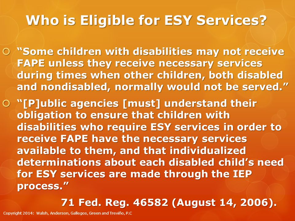 Who is Eligible for ESY Services.