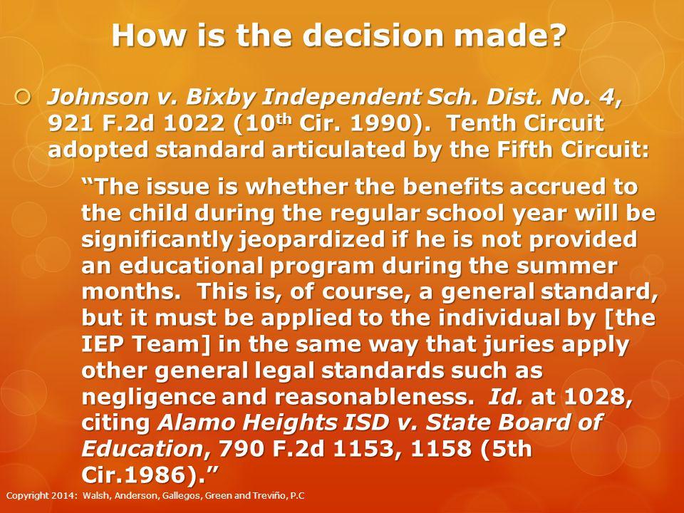 Regression/Recoupment  Johnson v.Bixby Independent Sch.