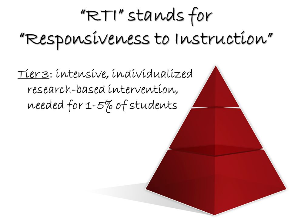 RTI stands for Responsiveness to Instruction Tier 3: intensive, individualized research-based intervention, needed for 1-5% of students