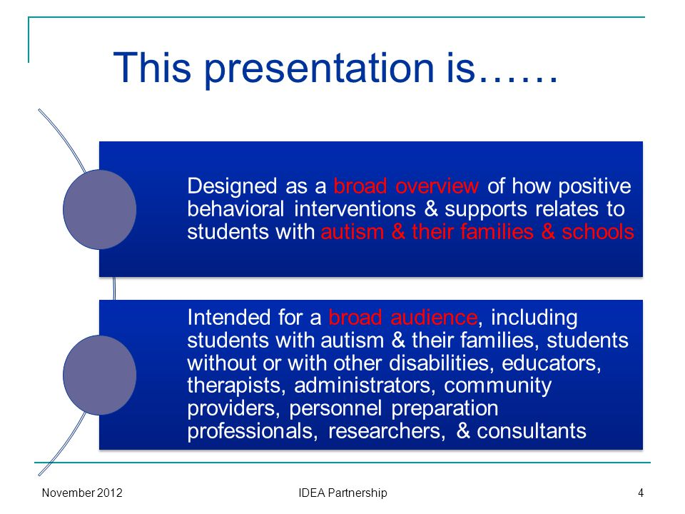 This presentation is…… Designed as a broad overview of how positive behavioral interventions & supports relates to students with autism & their famili