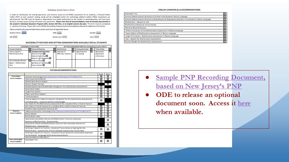 ●Sample PNP Recording Document, based on New Jersey's PNPSample PNP Recording Document, based on New Jersey's PNP ●ODE to release an optional document soon.