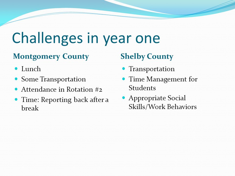 Challenges in year one Montgomery County Shelby County Lunch Some Transportation Attendance in Rotation #2 Time: Reporting back after a break Transpor