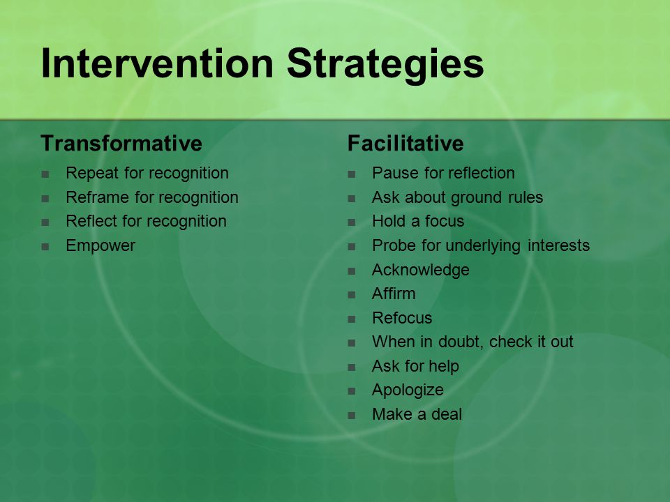 Intervention Strategies Transformative Repeat for recognition Reframe for recognition Reflect for recognition Empower Facilitative Pause for reflection Ask about ground rules Hold a focus Probe for underlying interests Acknowledge Affirm Refocus When in doubt, check it out Ask for help Apologize Make a deal