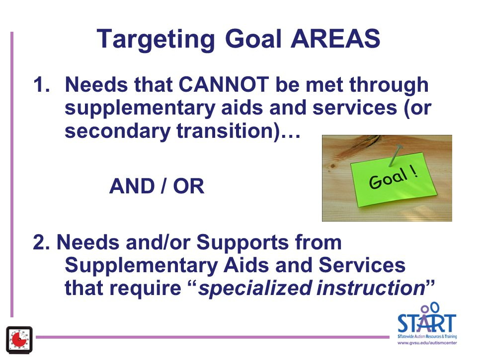 Targeting Goal AREAS 1.Needs that CANNOT be met through supplementary aids and services (or secondary transition)… AND / OR 2. Needs and/or Supports f