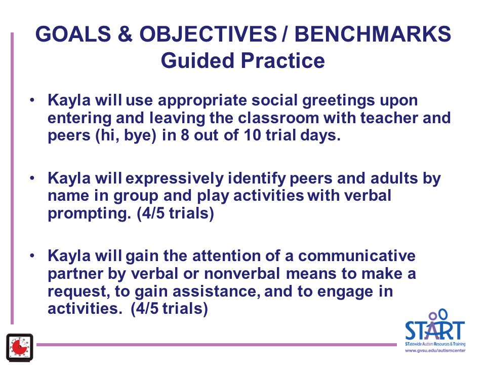 GOALS & OBJECTIVES / BENCHMARKS Guided Practice Kayla will use appropriate social greetings upon entering and leaving the classroom with teacher and p