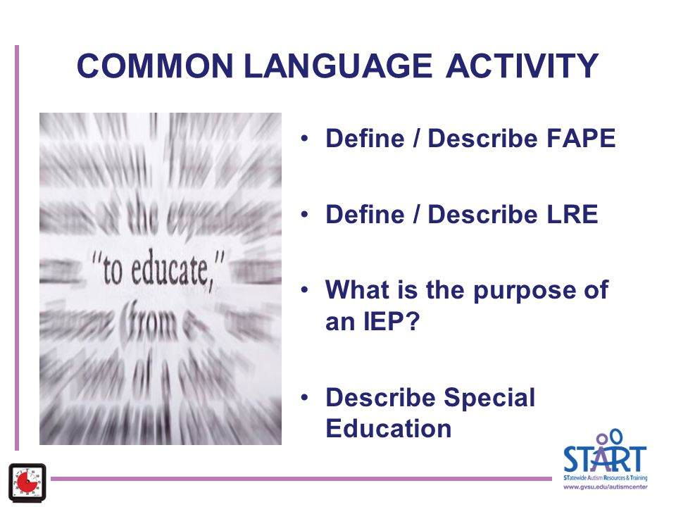 COMMON LANGUAGE ACTIVITY Define / Describe FAPE Define / Describe LRE What is the purpose of an IEP? Describe Special Education
