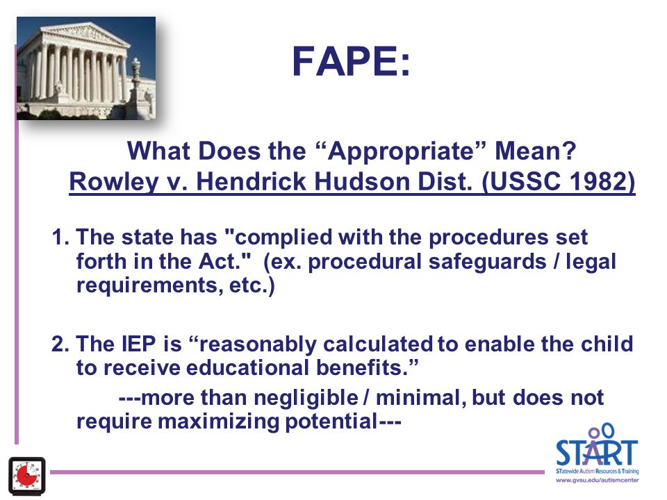 "FAPE: What Does the ""Appropriate"" Mean? Rowley v. Hendrick Hudson Dist. (USSC 1982) 1. The state has"
