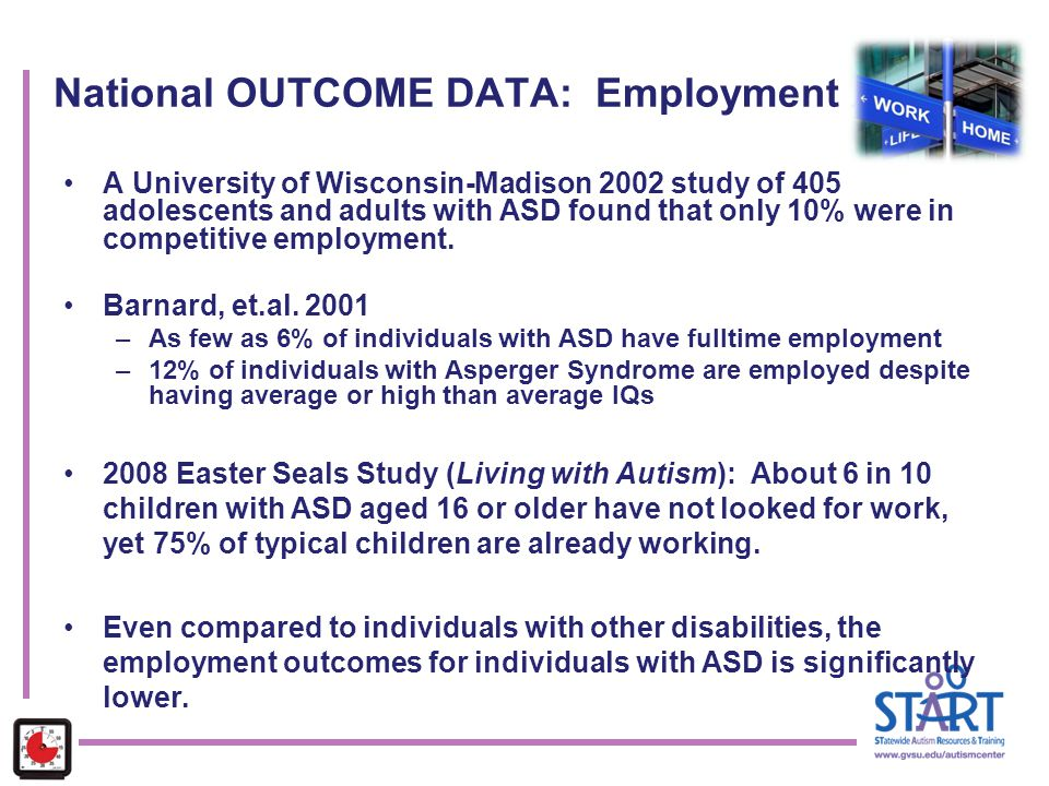 National OUTCOME DATA: Employment A University of Wisconsin-Madison 2002 study of 405 adolescents and adults with ASD found that only 10% were in comp