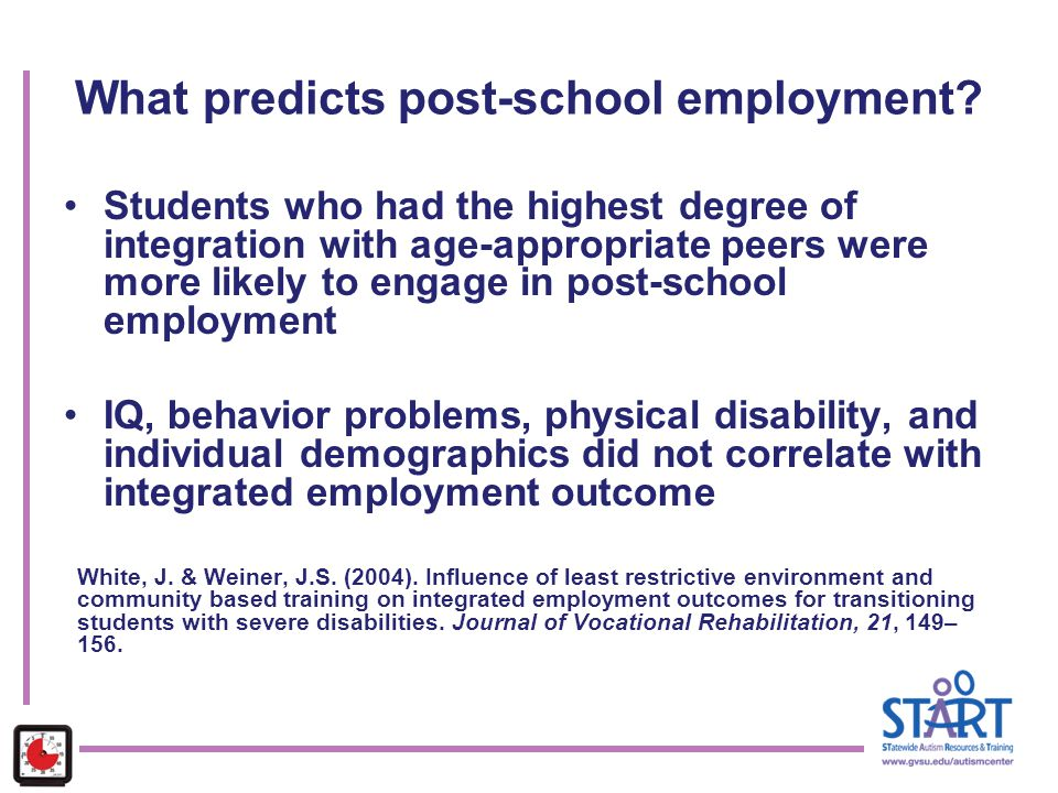 What predicts post-school employment? Students who had the highest degree of integration with age-appropriate peers were more likely to engage in post