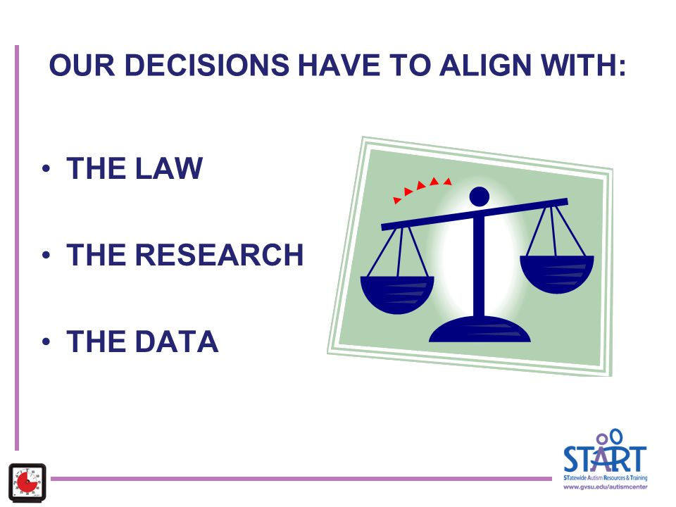 OUR DECISIONS HAVE TO ALIGN WITH: THE LAW THE RESEARCH THE DATA