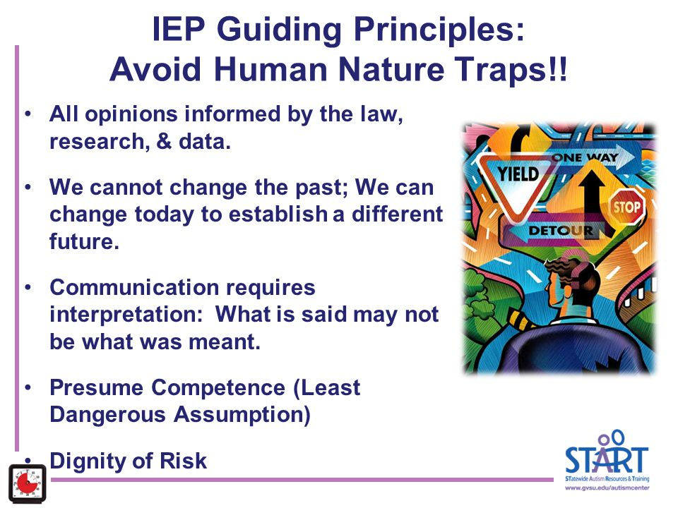 IEP Guiding Principles: Avoid Human Nature Traps!! All opinions informed by the law, research, & data. We cannot change the past; We can change today