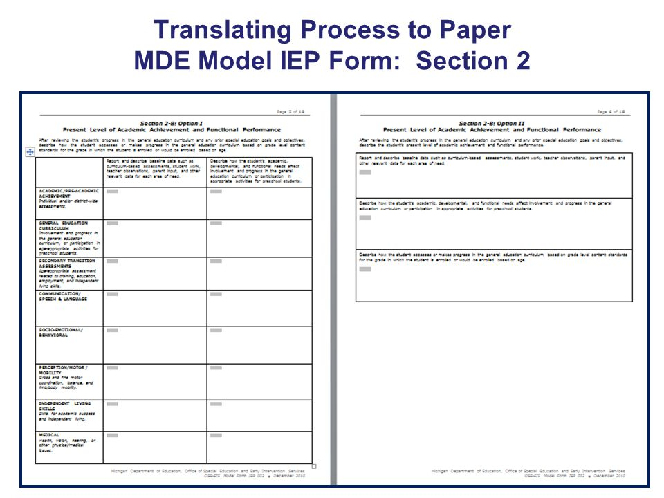 Translating Process to Paper MDE Model IEP Form: Section 2