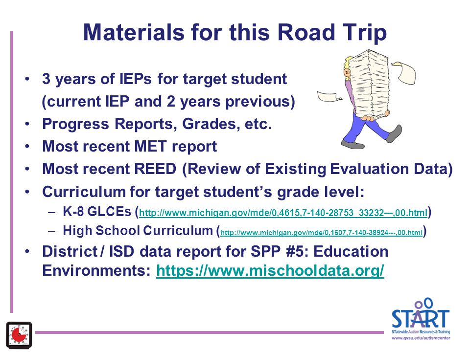 Materials for this Road Trip 3 years of IEPs for target student (current IEP and 2 years previous) Progress Reports, Grades, etc. Most recent MET repo