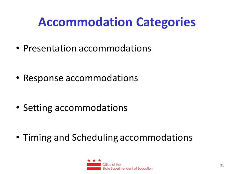 Accommodation Categories Presentation accommodations Response accommodations Setting accommodations Timing and Scheduling accommodations 31