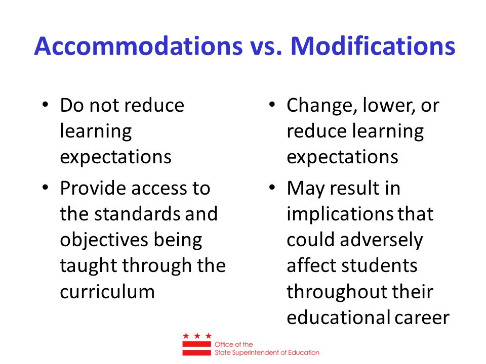 Accommodations vs. Modifications Do not reduce learning expectations Provide access to the standards and objectives being taught through the curriculu