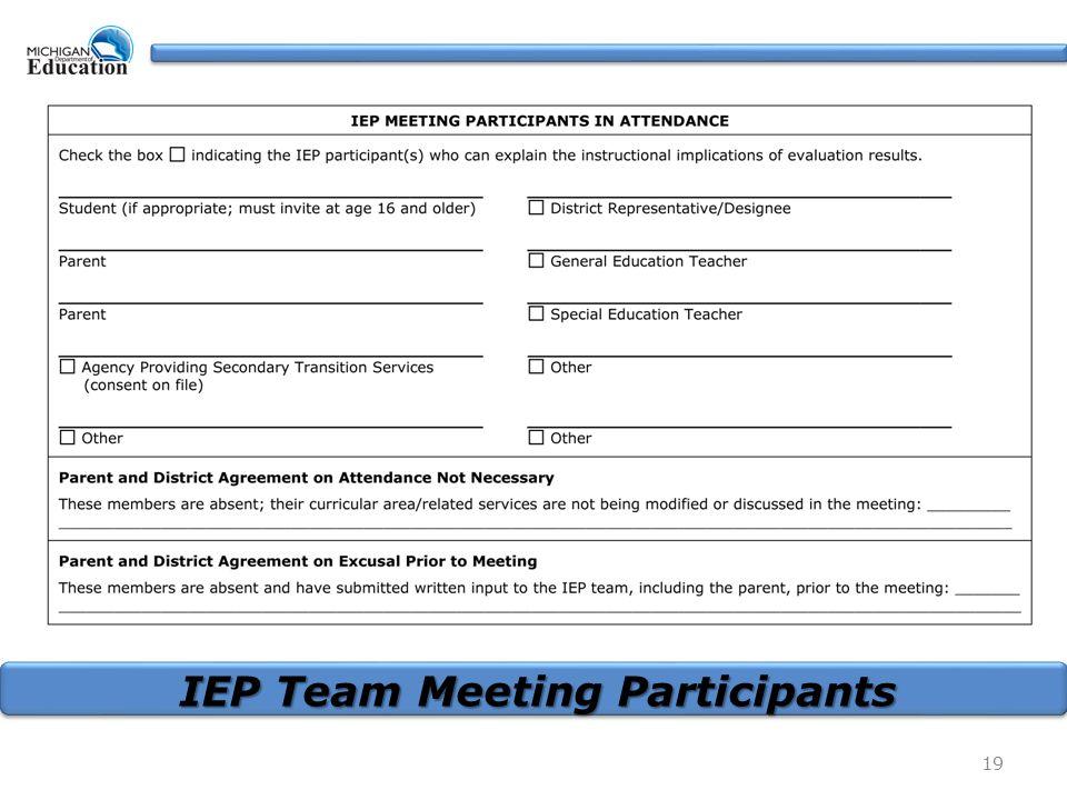 19 IEP Team Meeting Participants