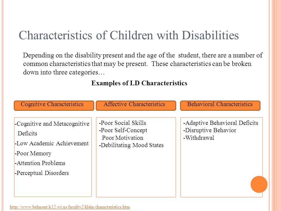 Characteristics of Children with Disabilities Depending on the disability present and the age of the student, there are a number of common characteristics that may be present.